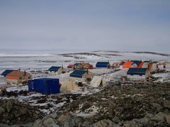 Meadowbank gold mine, construction camp, mid May. by <b>banga</b> ( a Panoramio image )