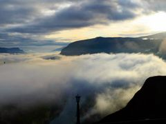 Foggy Sunrise at Crown Point Panoramic by <b>© Michael Hatten http://www.sacred-earth-studios.com</b> ( a Panoramio image )