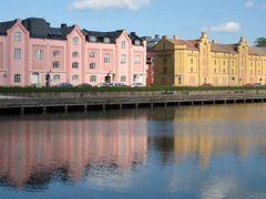 Colorful buildings alongside Gvle river by <b>Juho Ruohola</b> ( a Panoramio image )