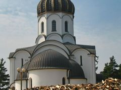 Firewood behind the Church of the  Birth of Christ in Vialikaje  by <b>Andrej Kuzniecyk</b> ( a Panoramio image )