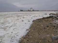 Frozen Churchill River with port facilities in the background by <b>RoadMode</b> ( a Panoramio image )