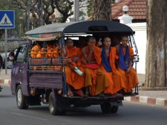 Monks Riding School Bus in Vientiane by <b>Chouden Boy</b> ( a Panoramio image )