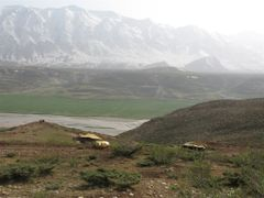 Looking West onto the snowy Zagros Mountains, with some nomads/  by <b>aboes41</b> ( a Panoramio image )