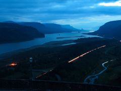 Pre Dawn Bulb Exposure of The Columbia River Gorge with Vehicle  by <b>© Michael Hatten http://www.sacred-earth-studios.com</b> ( a Panoramio image )