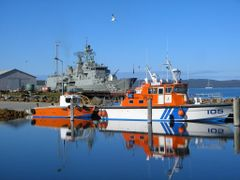 "Reflection of the Pilot Boat. ""The George Vancouver"" by <b>sugarbag1</b> ( a Panoramio image )"