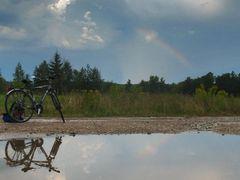 Road near Vialiki Trascianiec village with bicycle & rainbow by <b>Andrej Kuzniecyk</b> ( a Panoramio image )