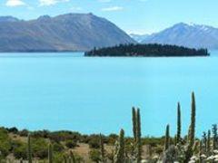 East side of Lake Tekapo and Motuariki Island panorama by <b>Tomas K?h?ut</b> ( a Panoramio image )