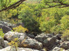 Looking down Mina Sauk Falls by <b>trailhappyhippies</b> ( a Panoramio image )