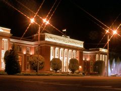 Majlisi Oli Building at night by <b>Aziz Saliev</b> ( a Panoramio image )