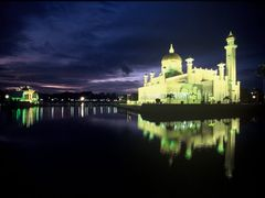 Omar Ali Safuddien Mosque at dusk by <b>JohnMacdonald</b> ( a Panoramio image )