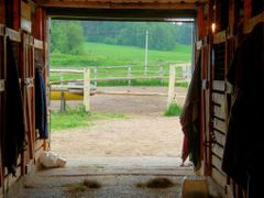View at fields from within of Stotz stable at Zagorie by <b>Koni.BY</b> ( a Panoramio image )