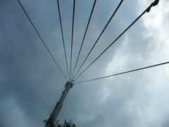 Support tower and guy cables for the Arecibo Radio Telescope by <b>geocheb</b> ( a Panoramio image )
