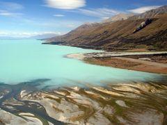 Lake Pukaki and the Tasman River Delta by <b>Ian Stehbens</b> ( a Panoramio image )