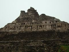 side of the main pyramid of Xunantunich by <b>Sorens Welt</b> ( a Panoramio image )