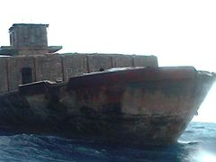 stranded concrete ship in Enewetak by <b>nnoguci</b> ( a Panoramio image )