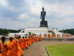 Buddhist priest parade in Thailand at Buddhamondon .Nakon Phatom by <b>TamMaDa</b> ( a Panoramio image )