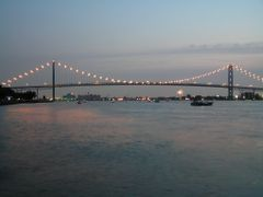 River and Ambassador Bridge on fireworks night by <b>Boris Gjenero</b> ( a Panoramio image )
