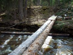 Crossing Bergeron creek just above the falls by <b>AverageJosh</b> ( a Panoramio image )