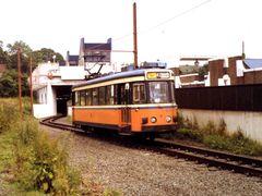 Tram 41 verlaat station Dampremy (juni 1983) by <b>bertgort</b> ( a Panoramio image )
