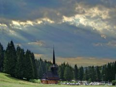"""It""""s come the storm over the wood church by <b>Laurentiu Mitu</b> ( a Panoramio image )"""