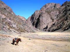 Entrance of Yolin Am (The Eagle`s Mouth), Gobi Desert, Mongolia. by <b>Finnbar</b> ( a Panoramio image )