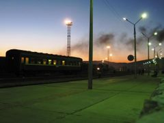 Long wait in Shbaatar, Trans-Mongolian Railway. by <b>Finnbar</b> ( a Panoramio image )