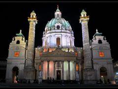 Karlskirche, night by <b>G Kesmev</b> ( a Panoramio image )