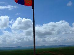 Mongolian Flag in Mongolian Countryside by <b>Chouden Boy</b> ( a Panoramio image )