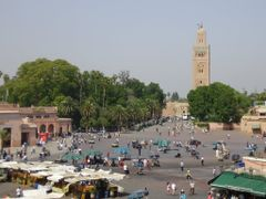 Marrakech, Jemaa El Fna square  and  Koutoubia Minaret  by <b>elakramine</b> ( a Panoramio image )