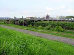 Bank Of Onga River Towards Shiniizuka Bridge by <b>ayusann</b> ( a Panoramio image )