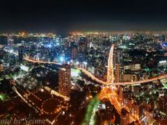 360° Panorama Night View at Tokyo Tower <Click and look at large by <b>SEIMA</b> ( a Panoramio image )