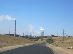 Entering Zhezkazghan from NE. Zhezkazghan mining and smelting pl by <b>Anuar T</b> ( a Panoramio image )