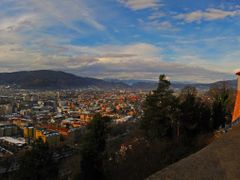 AUT Graz City & [Mur] from Schlossberg (Schlossbergbahn) {-3c} [ by <b>KWO Tsoumenis</b> ( a Panoramio image )