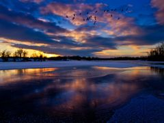Blue Golden Sunset with Ice Water Snow Reflection and Birds 2 -  by <b>Kalin Ranchev</b> ( a Panoramio image )