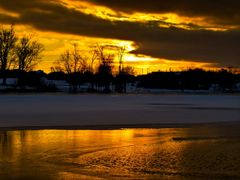 Golden Sunset with Ice Water Snow Reflection - Jacobson Park (Le by <b>Kalin Ranchev</b> ( a Panoramio image )