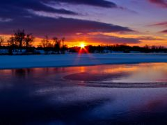 Blue Red Purple Golden Sunset with Ice Water Snow Reflection 6 - by <b>Kalin Ranchev</b> ( a Panoramio image )