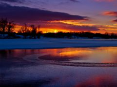 Blue Red Purple Golden Sunset with Ice Water Snow Reflection 4 - by <b>Kalin Ranchev</b> ( a Panoramio image )