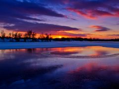 Blue Red Purple Golden Sunset with Ice Water Snow Reflection 2 - by <b>Kalin Ranchev</b> ( a Panoramio image )