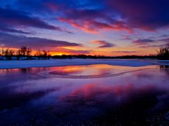 Blue Red Purple Golden Sunset with Ice Water Snow Reflection 1 - by <b>Kalin Ranchev</b> ( a Panoramio image )