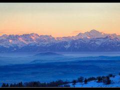 Alpes et Mont-Blanc au couchant by <b>wx</b> ( a Panoramio image )