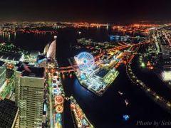 360°Panorama Night View Minatomirai in Yokohama   <Look at large by <b>SEIMA</b> ( a Panoramio image )