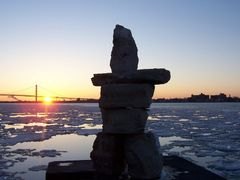 Inukshuk - Odette Sculpture Park, Windsor, ON, Canada by <b>Irene Kravchuk</b> ( a Panoramio image )