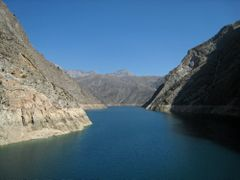 view from the dam of the power station to Toktogul reservoir by <b>heinerbischkek</b> ( a Panoramio image )