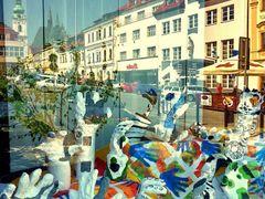 """Klatovy im Schaufenster der Apotheke """"Zum Einhorn"""" (Weltkulturer by <b>Schwiemonster</b> ( a Panoramio image )"""