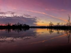 Pink Sunset Panorama with Water Reflection - Jacobson Park (Lexi by <b>Kalin Ranchev</b> ( a Panoramio image )