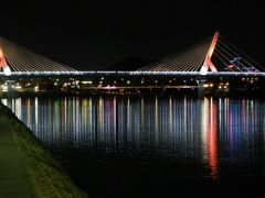 Various color illumination of the new bridge  by <b>peacemaker453354 (No Views)</b> ( a Panoramio image )