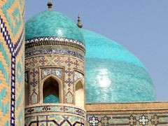 Turquoise Domes in Registan Square (Samarkand, Uzbekistan) by <b>laurac5</b> ( a Panoramio image )