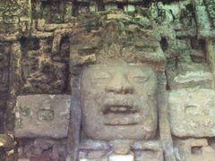 BELIZE: LAMANAI: detail of nine-foot stucco mask on the Mask Tem by <b>Douglas W. Reynolds, Jr.</b> ( a Panoramio image )