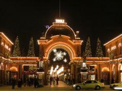 """Welcome (^_^)"" - Tivoli by Night, Copenhagen, Denmark (Note: Ti by <b>Jan Sognnes</b> ( a Panoramio image )"
