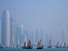 Dhows on Doha bay by <b>S?ren Terp</b> ( a Panoramio image )